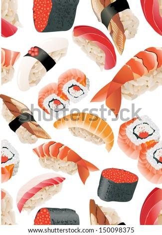 Japanese Sushi Seamless Pattern vector - stock vector