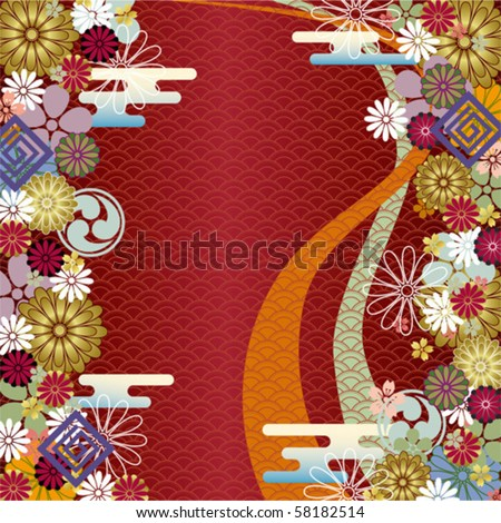 Japanese traditional background. Illustration vector. - stock vector