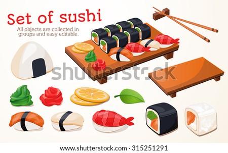 Japanese traditional cuisine, food, illustration, set of sushi, rolls, fast food, sushi. - stock vector