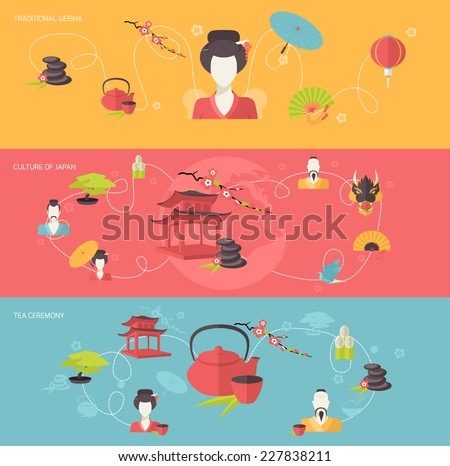 Japanese travel banner set with traditional geisha tea ceremony culture of japan isolated vector illustration - stock vector