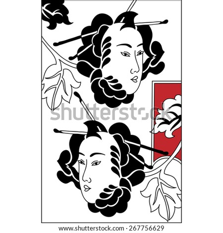 Japanese Tsure Noh Theatrical Masks. Set of black and white vector illustrations. Vintage hand draw art. Set of illustrations - stock vector