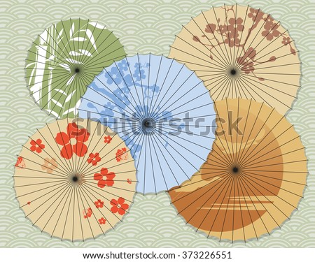 Japanese umbrellas with different patterns - stock vector