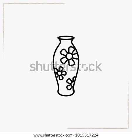 Japanese Vase Line Icon Stock Vector 1015517224 Shutterstock