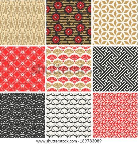 Japanese vector seamless patterns set