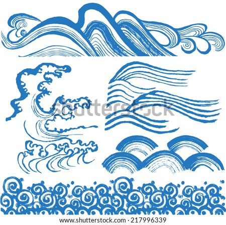 Japanese waves. hand drawn illustrations. - stock vector