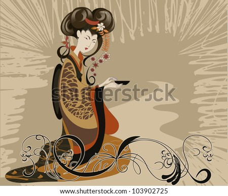 Japanese woman preparing dishes for the tea ceremony - stock vector