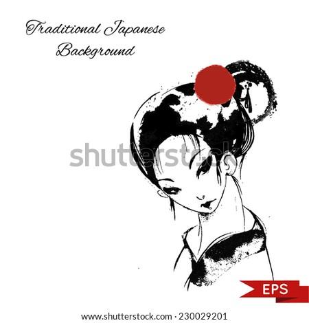 Japanese woman wearing kimono ink illustration. vector image. - stock vector