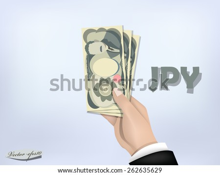 japanese yen money paper on hand,cash on hand - stock vector