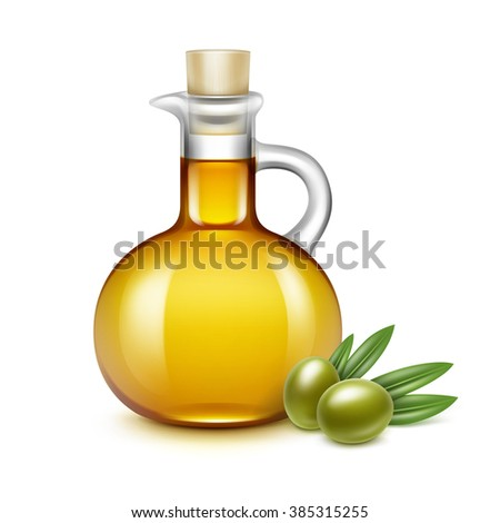 Jar Bottle with Olives Branches on Leaves Isolated on White Background