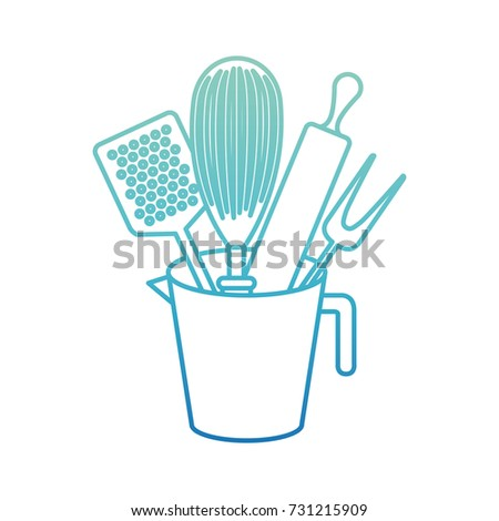 color kitchen utensils white background colorful set kitchen utensils stock vector