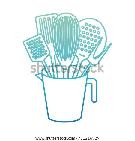 color kitchen utensils jar kitchen utensils roller pin monochrome stock vector 731214448