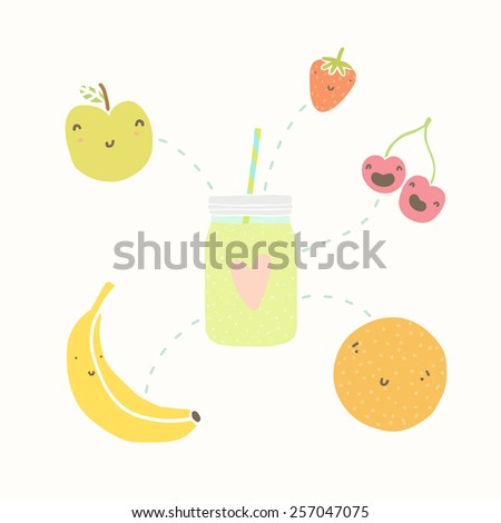 Jar with smoothie and funny fruits. Vector hand dawn illustration - stock vector