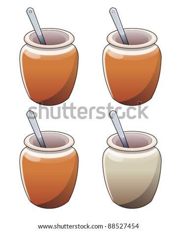 Jar with spoon - stock vector