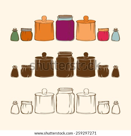 jars doodle. consists of four cans forms. - stock vector