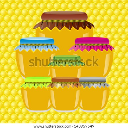 jars of honey on a background texture of a honeycomb - stock vector