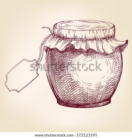 Jars of jam  hand drawn vector llustration realistic sketch - stock vector