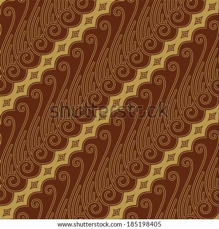Javanese Batik Seamless Pattern - Set F Lereng Red - stock vector