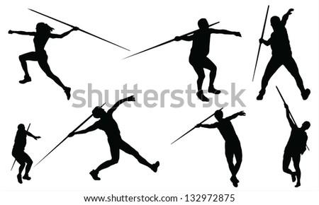 Javelin throw - stock vector