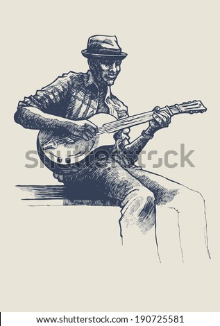 Jazz and blues musician. drawing style. vector illustration  - stock vector