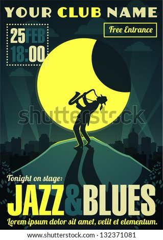 Jazz and blues poster - stock vector