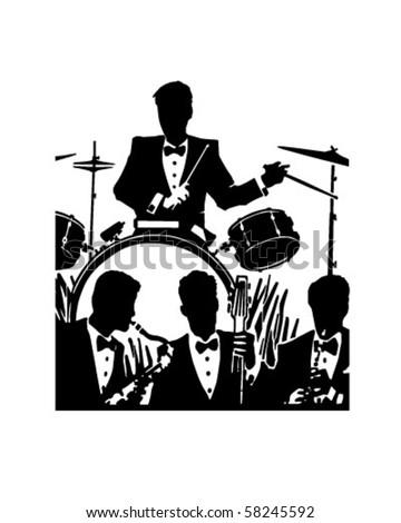 Jazz Band - Retro Clip Art - stock vector