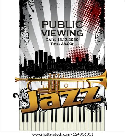 Jazz concert public viewing - stock vector