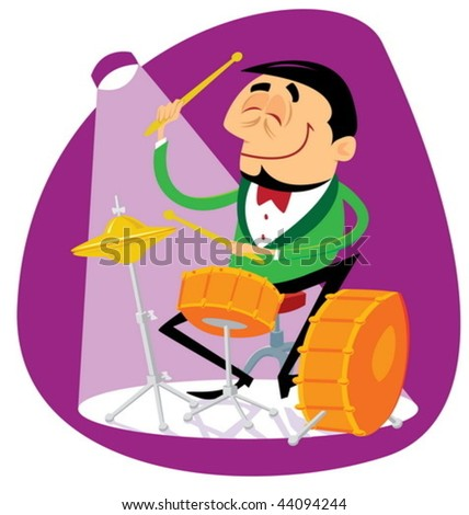 Jazz drummer playing the drums - stock vector