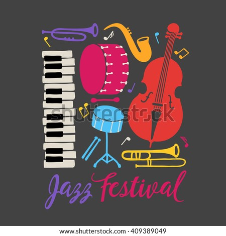 Jazz festival placard. Piano, trombone, saxophone, double bass, bass drum and snare drum. Music band. Perfect for disc cover, music concert placard. Vector illustration - stock vector