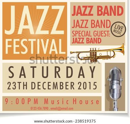 Jazz festival poster - stock vector