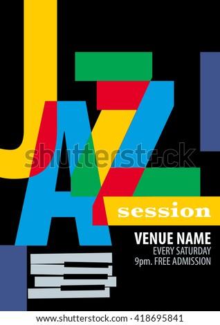 Jazz Festival Poster Template - stock vector