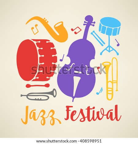 Jazz festival poster template. Music instruments - trombone, double bass, bass drum, saxophone and snare drum. Perfect for disc cover, music concert placard. Vector illustration - stock vector