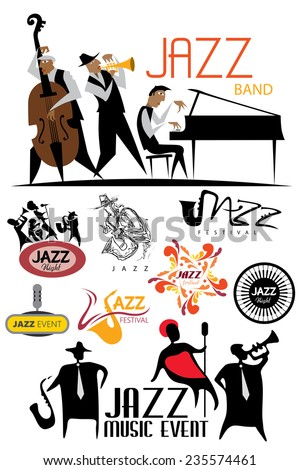 Jazz Icon Collection, Music Art Concept, Blues Characters (Vector Art) - stock vector