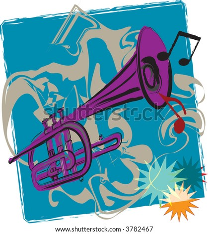 Jazz impression of funky trumpet playing in this vector illustration. - stock vector