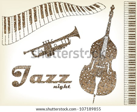 Jazz instruments - stock vector