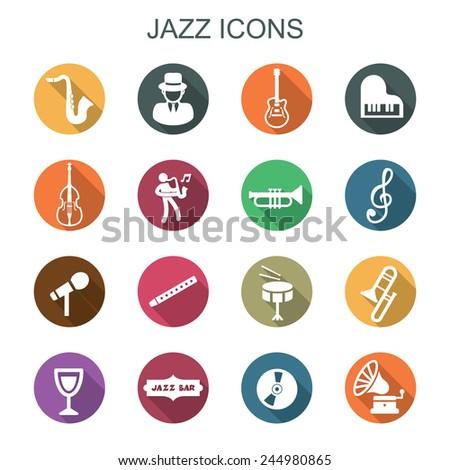 jazz long shadow icons, flat vector symbols - stock vector