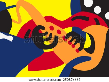 jazz man , musician playing on saxophone - vector illustration - stock vector