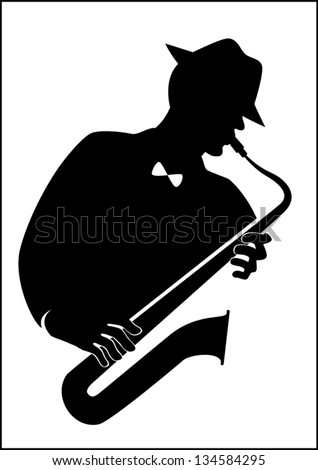Jazz-man with a saxophone - stock vector