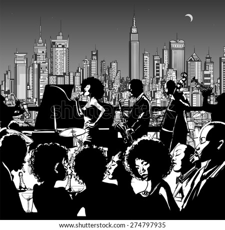 Jazz music band performing in New York - Vector illustration - stock vector