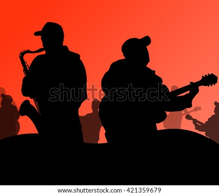 Jazz music band vector background illustration  - stock vector