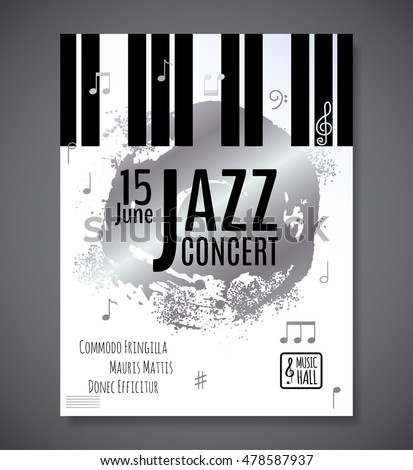 Jazz Music Concert Background Keyboard Vector Stock Photo (Photo ...
