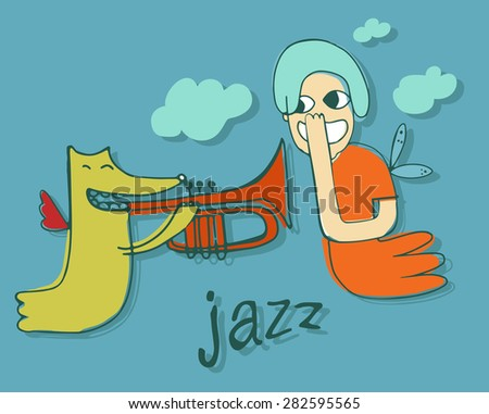 jazz music, cute monster girl and monster boy play trumpet in the sky with clouds, vector illustration, character design, isolated - stock vector