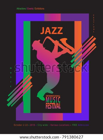 Jazz music festival abstract dynamic color stock vector hd royalty jazz music festival abstract dynamic color shapes poster colorful modern art invitation vector template for stopboris Choice Image