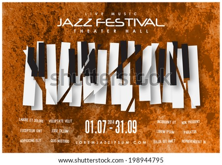 Jazz music festival, poster background template. Layers (background, keyboard, text). Can be arranged for vertical display. Vector design. - stock vector
