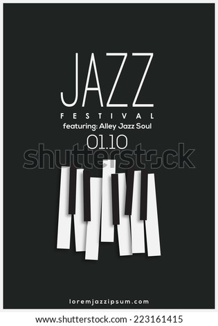 Jazz music festival, poster background template. Vector design. - stock vector