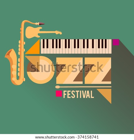 Jazz music festival, poster background template with musical instruments. - stock vector
