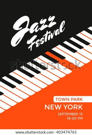 Jazz music festival poster design template. Piano keys. Vector illustration placard for jazz concert. - stock vector