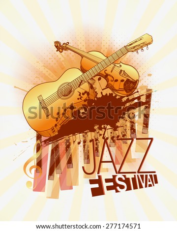 Jazz music festival with violin and guitar background template - stock vector