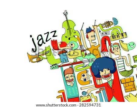 jazz music, funny people and monsters with different music instrument in white, vector illustration, character design, isolated - stock vector