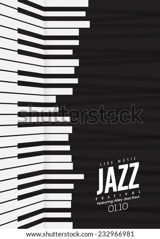 Jazz music, poster background template. Piano keyboard illustration. Music Website background, festival event flyer design. - stock vector