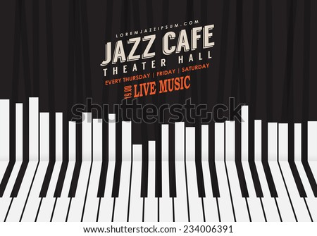 Jazz Music Poster Background Template Piano Keyboard Illustration Website Festival